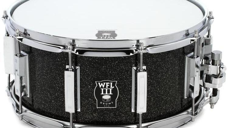 """WFLIII Aluminum Snare Drum - 6.5"""" x 14"""" Black Sparkle"""