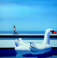 Pool with swan and a little girl on the wall gazing at the sea