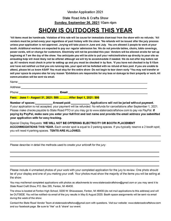 2021 State Road Craft Show Application.j