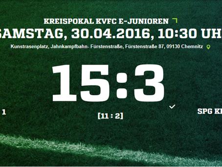 Enttäuschende 15:3 Niederlage der E2 gegen USG Chemnitz 1 im Pokalspiel