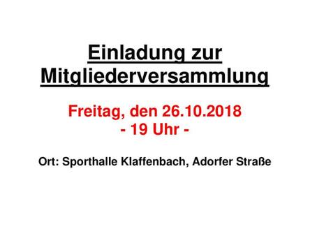Mitgliederversammlung 26.10.2018