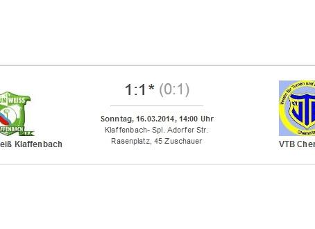 1. Mannschaft: 1:1 Unentschieden gegen VTB Chemnitz