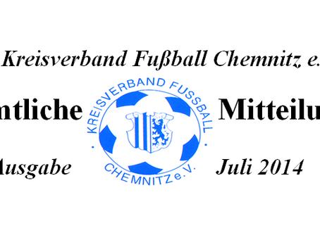 Amtliche Mitteilung Juli 2014 vom KVFC