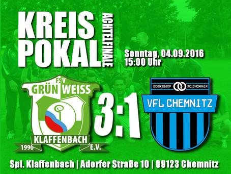Kreispokal: Klaffenbach 1 holt Sieg im Achtelfinale gegen VfL Chemnitz