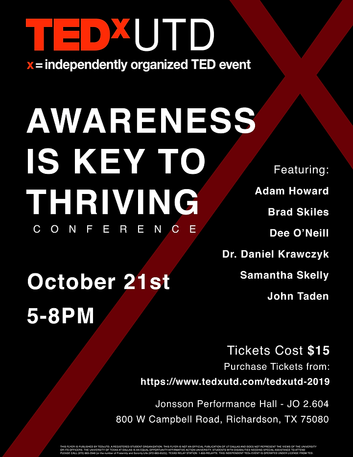 TEDxUTD Thriving Main Conference Poster.