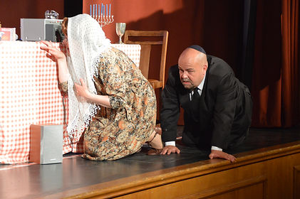 Street Theatre's Production of The Day THey Kidnapped The Pope Miriam and Rabbi Meyer hide