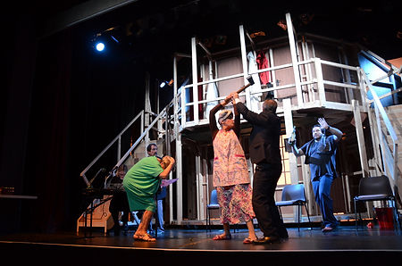 Street Theatre's Production of Noises Off Act 2 Dotty fights Gary for axe