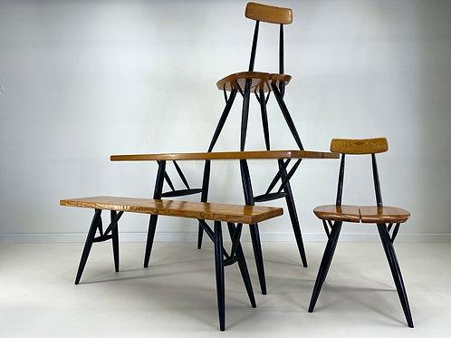 RARE Pirkka Set by Ilmari Tapiovaara for Laukaan Puu Finland Table Chairs Bench