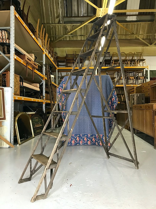 Stunning Antique Hatherley Library Ladders - Vintage Warehouse Loft Industrial