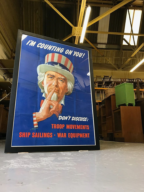 ORIGINAL 1943 Framed USA WWII Uncle Sam Poster I'm Counting On You! War American