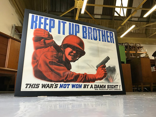 ORIGINAL 1943 Framed USA WWII Clayton Kenney Poster - Keep It Up Brother War