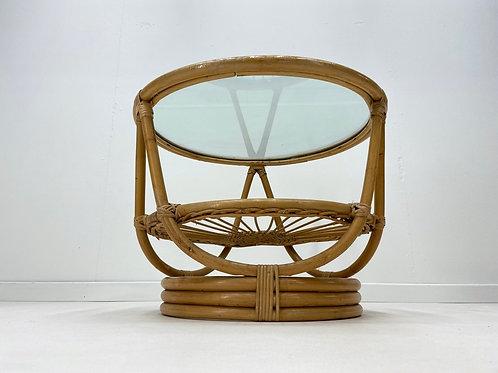 Vintage Boho Cane Coffee Table With Glass