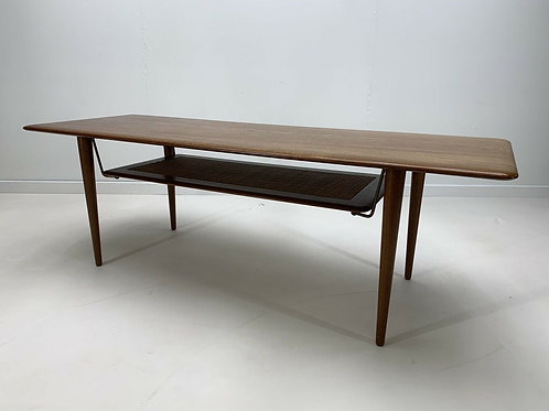 Peter Hvidt Solid Teak and Rattan Coffee Table for France & Sons