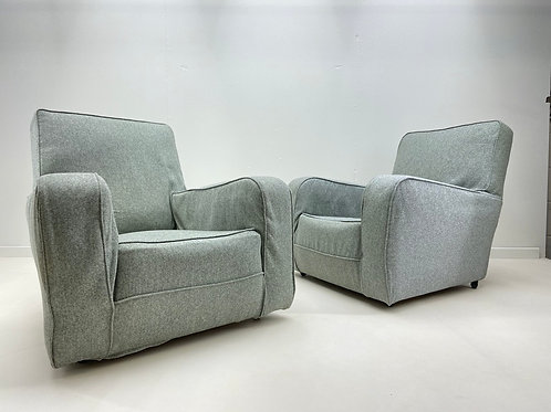 Pair of 1930s Art Deco Armchairs Reupholstered By Plumbs