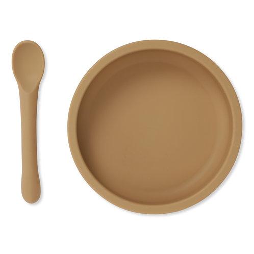 Coffret bol et cuillère en silicone almond
