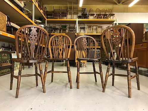 4x Antique Elm Farmhouse Dining Chairs