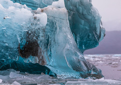 glacier and floating ice block