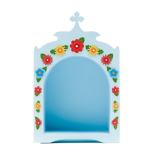 Oratório Azul com Flores