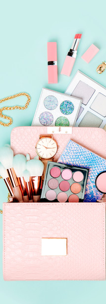 Cosmetic products flowing from Makeup ba