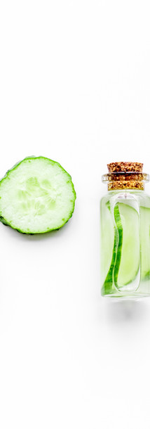 Lotion with cucumber pattern. White back