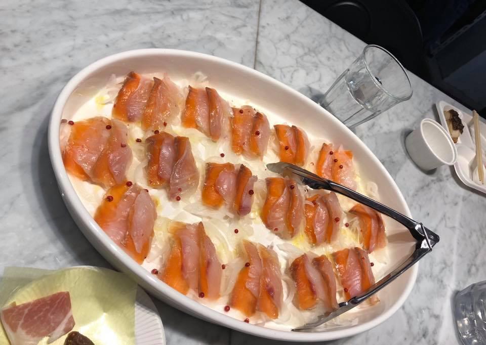 鯛と信州サーモンのカルパッチョ