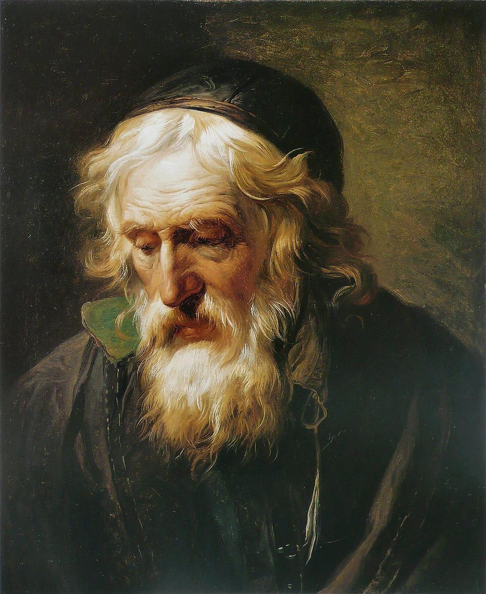 Oil painting priesta cura griego greek monje singular