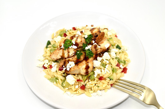 HONEY BALSAMIC CHICKEN WITH ORZO PASTA IS A HOUSE FAVORITE