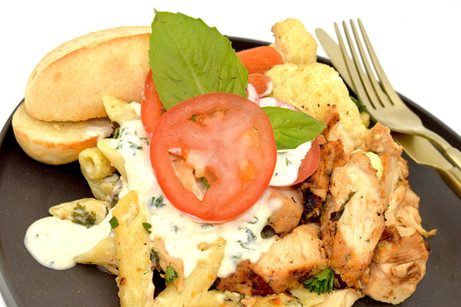 PENNE PASTA + GRILLED CHICKEN TOPPED w. ALFREADO SAUCE + ACCOMPANIED w. ROASTED MIXED VEGGIES + A BREAD ROLL