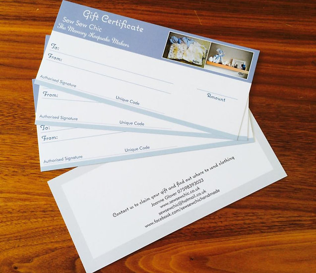 Gift Certificates £5-£50
