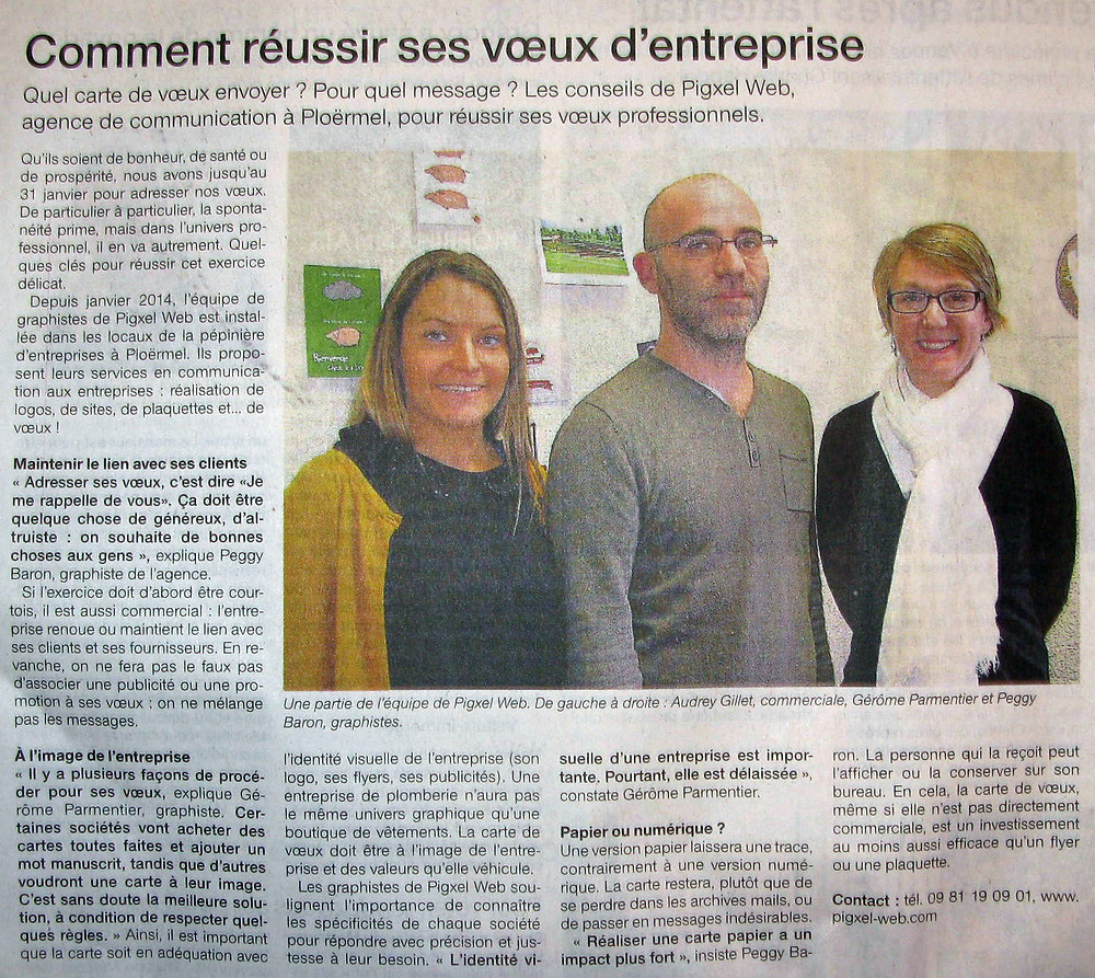 Article écrit pour Ouest-France Ploërmel, janvier 2015.