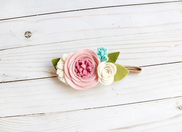 Pink Rolled Felt Flower Headband