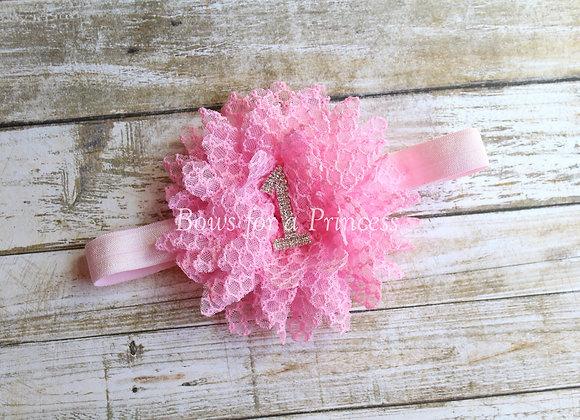 Pink #1 Birthday Shabby Flower Headband