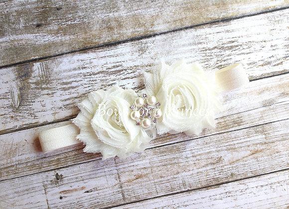 Ivory Rhinestone Flower Headband