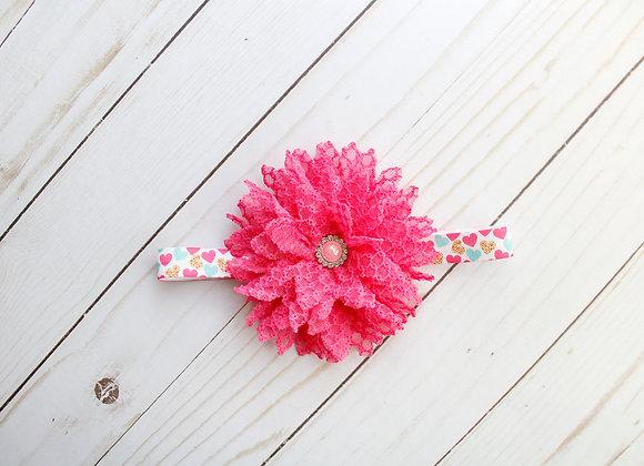 Hot Pink Heart Flower Headband