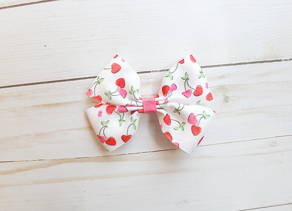 White Cherry Hair Bow