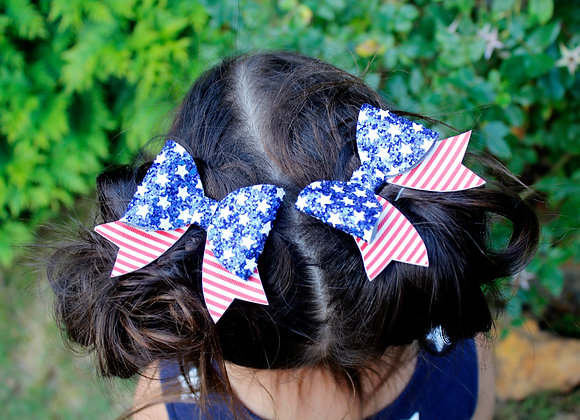 Glitter July 4th Sailor Bow