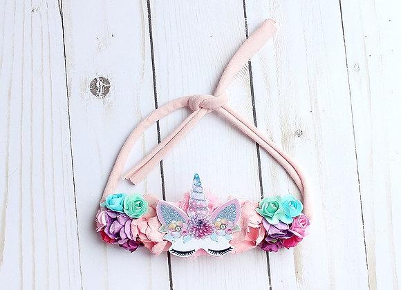 Pink Unicorn Flower Tie Back Headband