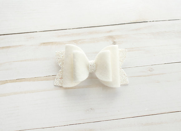 White Glitter Felt Hair Bow