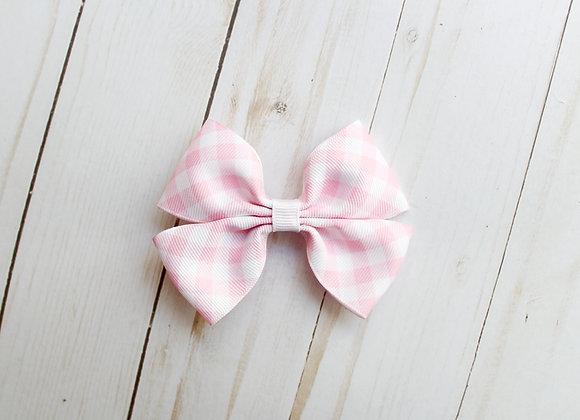 Pink Gingham Print Hair Bow