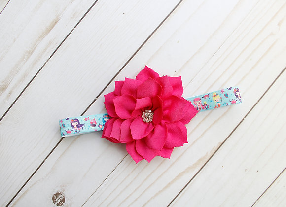 Hot Pink Mermaid Flower Headband