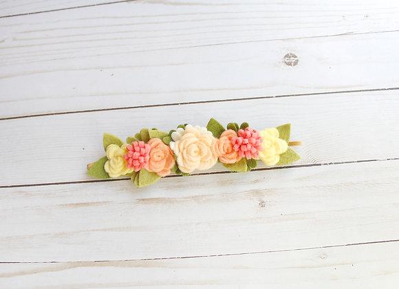 Small Peach Felt Flower Headband