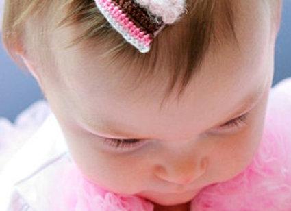 Crochet Birthday Cake Hair Clip