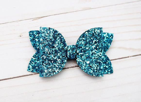 Turquoise Glitter Hair Bow