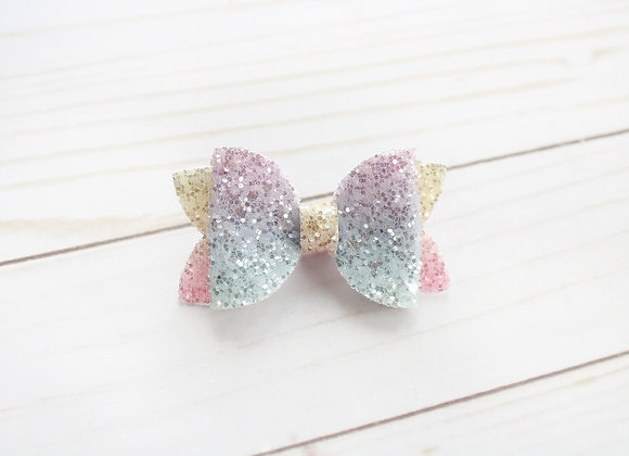 Rainbow Single Loop Glitter Bow