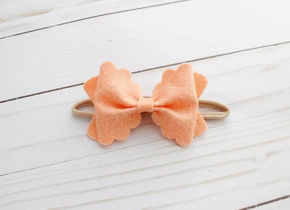 Tangerine Scalloped Felt Hair Bow