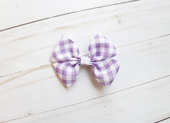 Purple Gingham Hair Bow