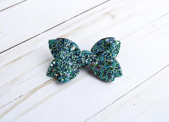 Turquoise Mermaid Glitter Hair Bow
