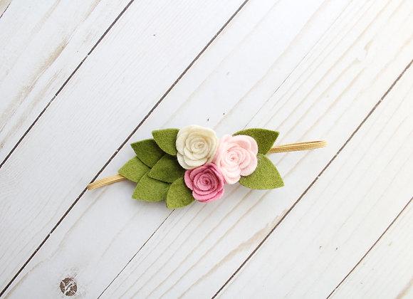 Pink & Ivory Leaf Felt Headband