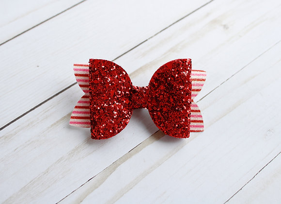 Red & Striped Glitter Hair Bow