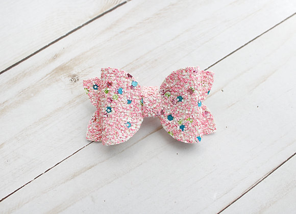 Pink Glitter Star Hair Bow